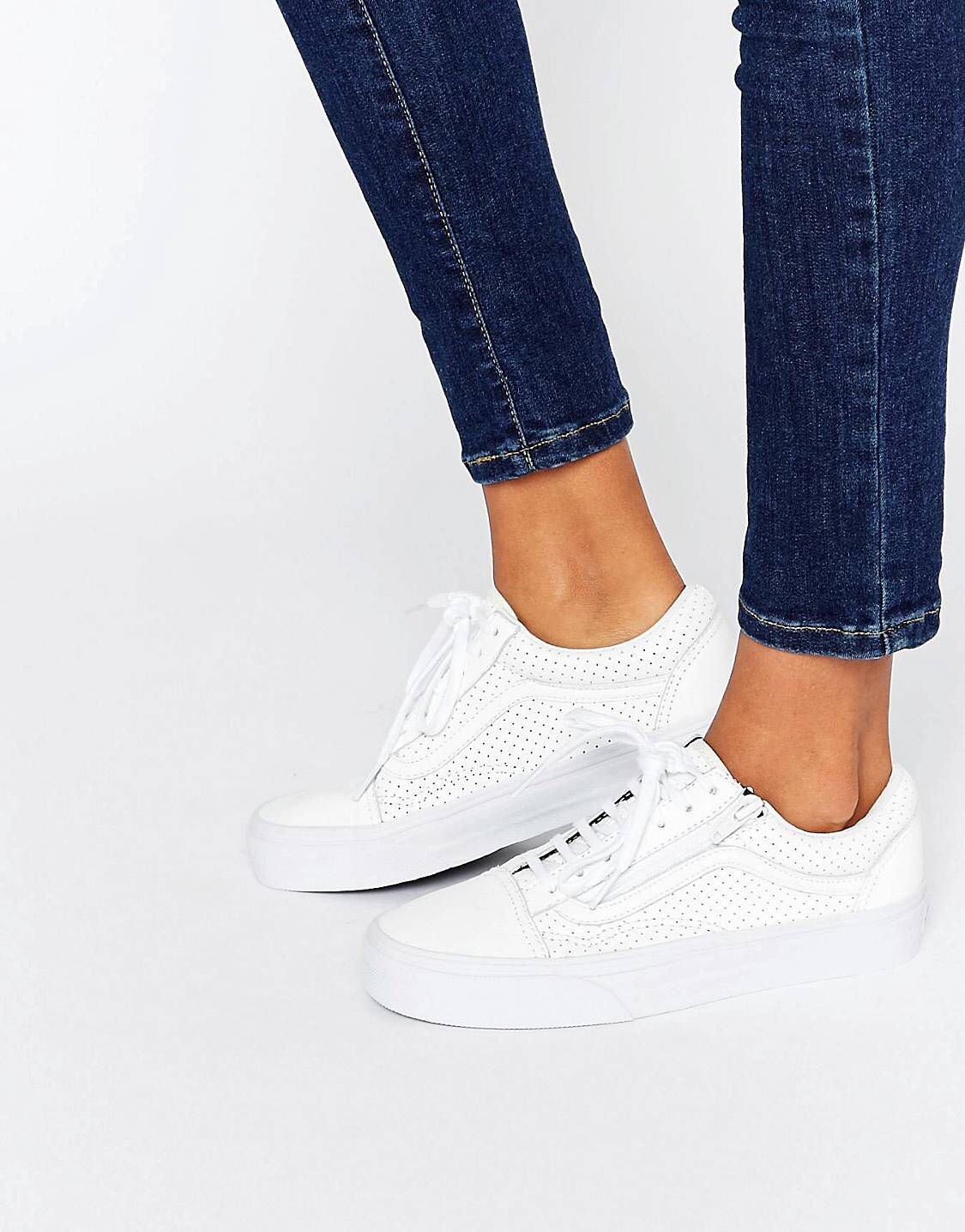 d5d32d3267 Vans Old Skool Zip Perforated Leather Trainer