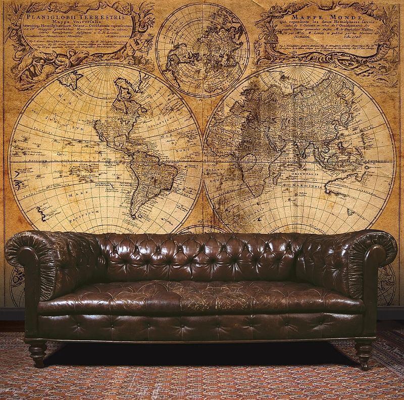 Essener Tapete G45253 Steampunk Wandbild Weltkarte Vintage Braun Beigevlies Steampunk Mobel Tapeten Tapeten Wandbilder