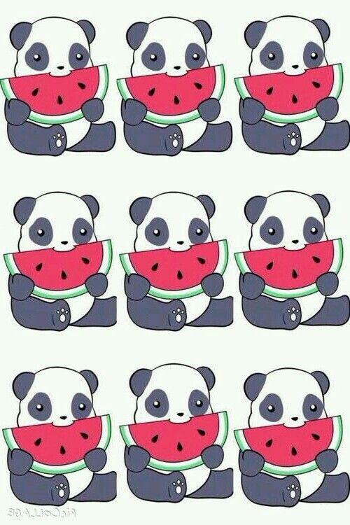 Super Cute Watermelon Eating Panda Wallpaper ♡♥♡♥♡♥ #wallpapers #pandas #kawaii #watermelon