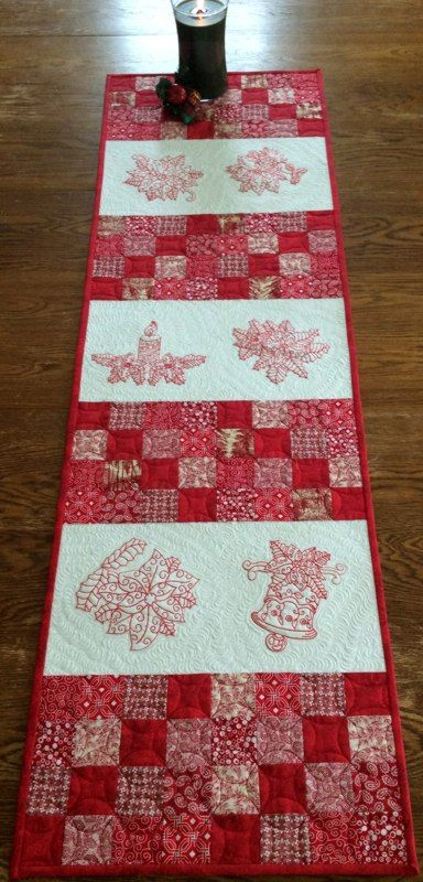 Red And White Christmas Tablerunner Advanced Embroidery Designs Machine Embroidery Projects Embroidery Designs Advanced Embroidery
