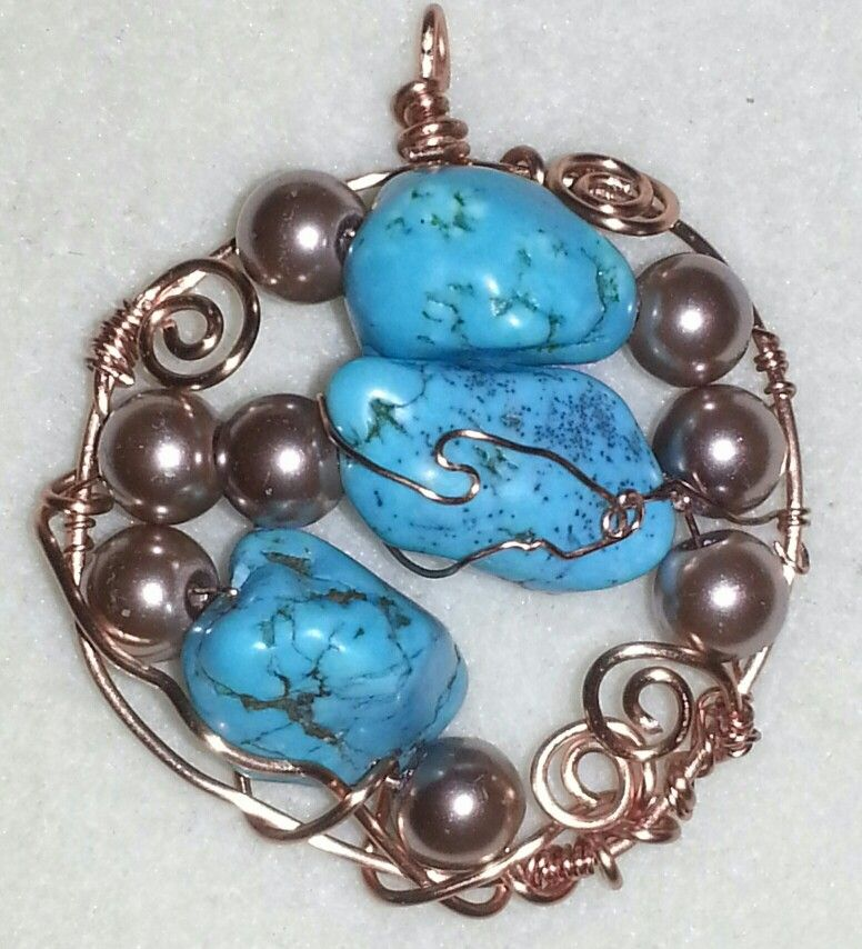 Dyed magnesite stones & glass pearls on nontarnish copper wire -pendant