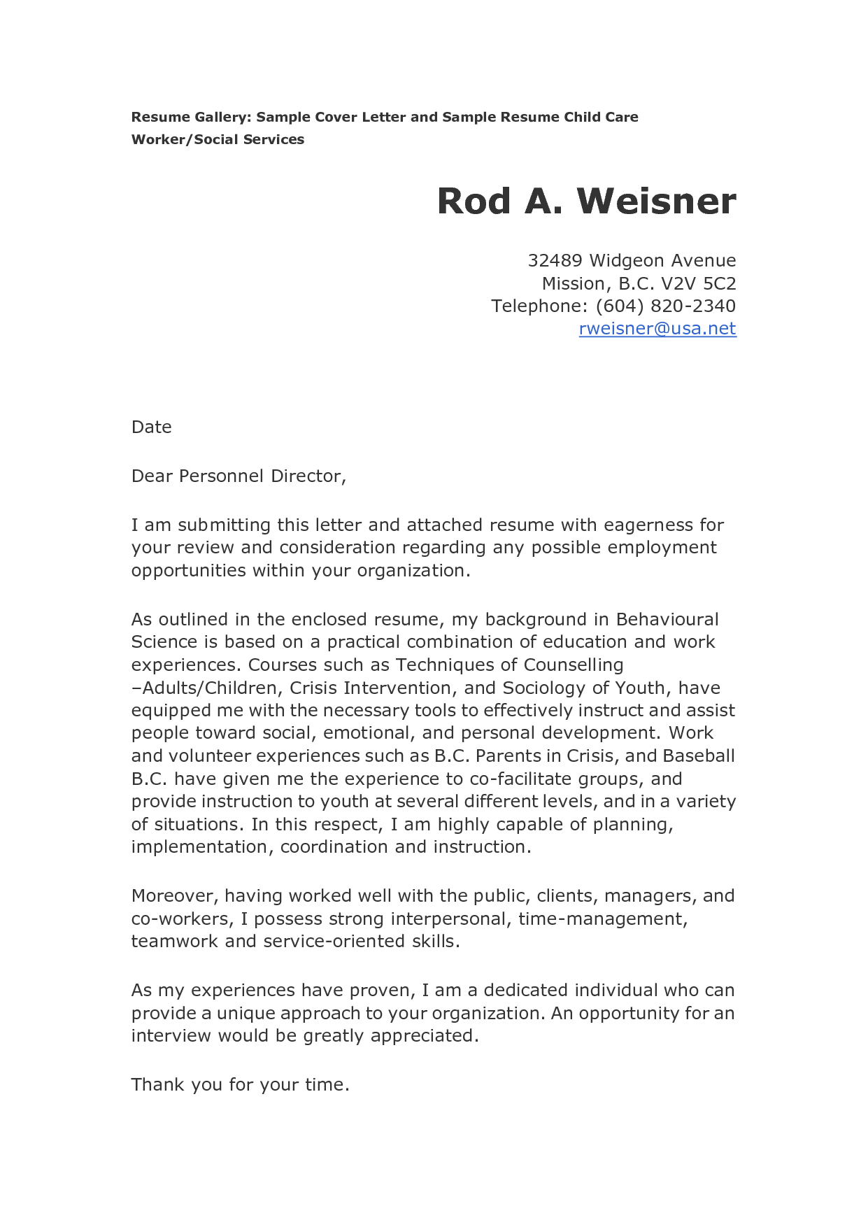 Child Care Cover Letter For Resume - http://www.resumecareer.info ...