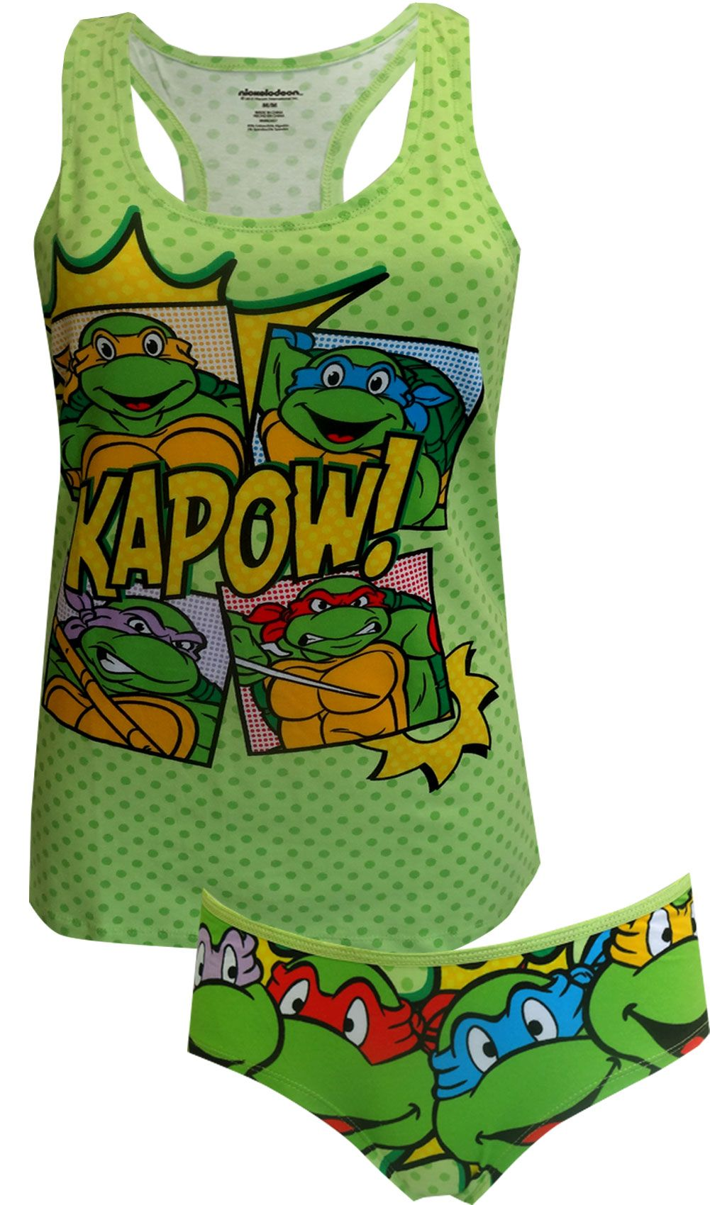 324be3bdf9 Love the TMNT! These cami panty sets for women feature the Teenage Mutant  Ninja Turtle Gang in colorful graphics on a green polka dot background.