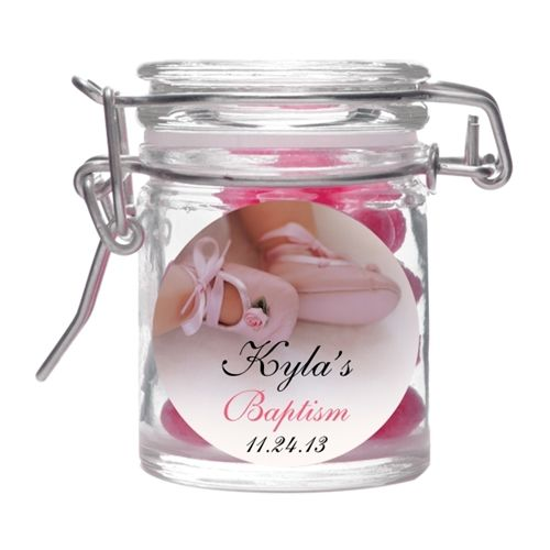 Baby Girl Christening Favors Glass Ornament: Rose Booties Glass Favor Jar Christening