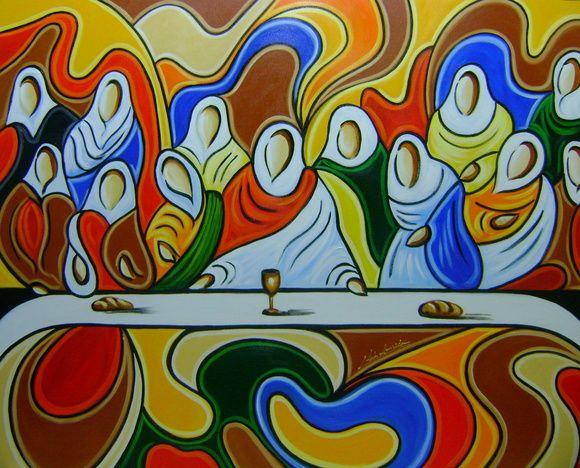 Santa ceia cubista de k tia almeida arts pinterest for Pinturas para salas modernas