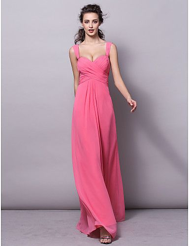 Sheath/Column Straps Floor-length Chiffon Bridesmaid Dress (2570945) – USD $ 79.99