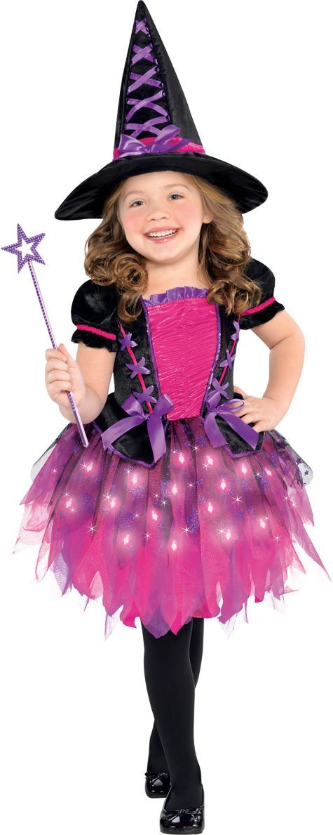 Toddler Girls Light-Up Sparkle Witch Costume - Party City | Crafts ...