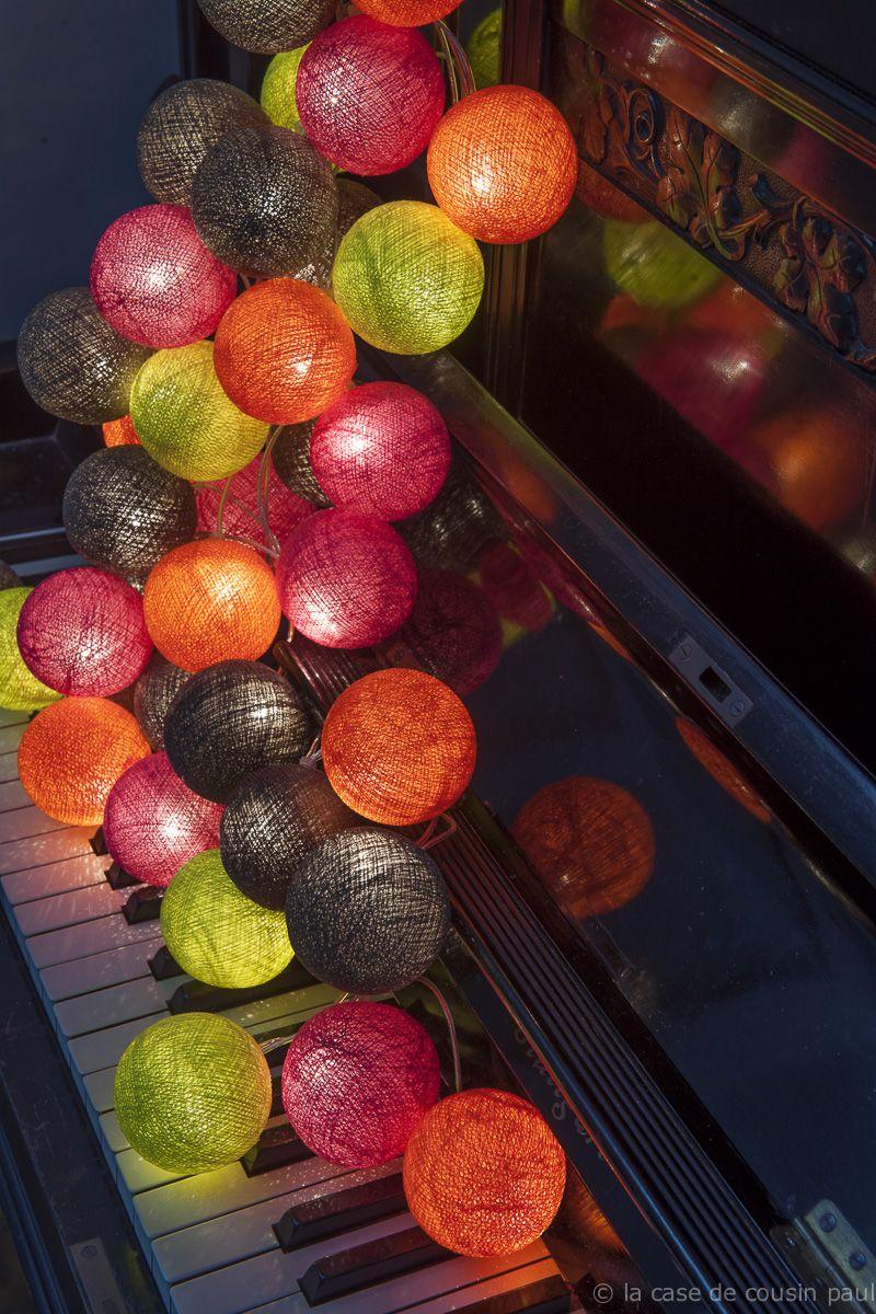 PRINTEMPS guirlande de 35 boules (orange flash, framboise ...
