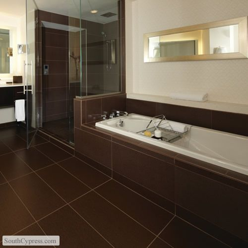St Germain Chocolate featured on the Fabric Look Tile page from South  Cypress   bathroomBathroom with dark grey tile floors  tiled shower  white sink  and  . Brown Tile Bathroom. Home Design Ideas