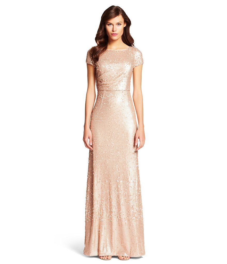Papell Short Sleeve Sequin Gown