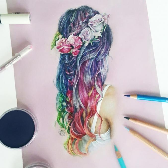 rainbow hair drawing pencil drawings