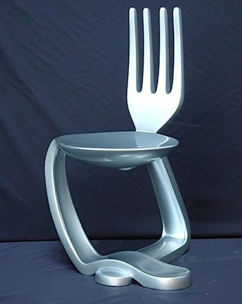 Now we know what became of the fork when he ran ran away with the spoon-they morphed into fun furniture. Available from Spellbound Statues.