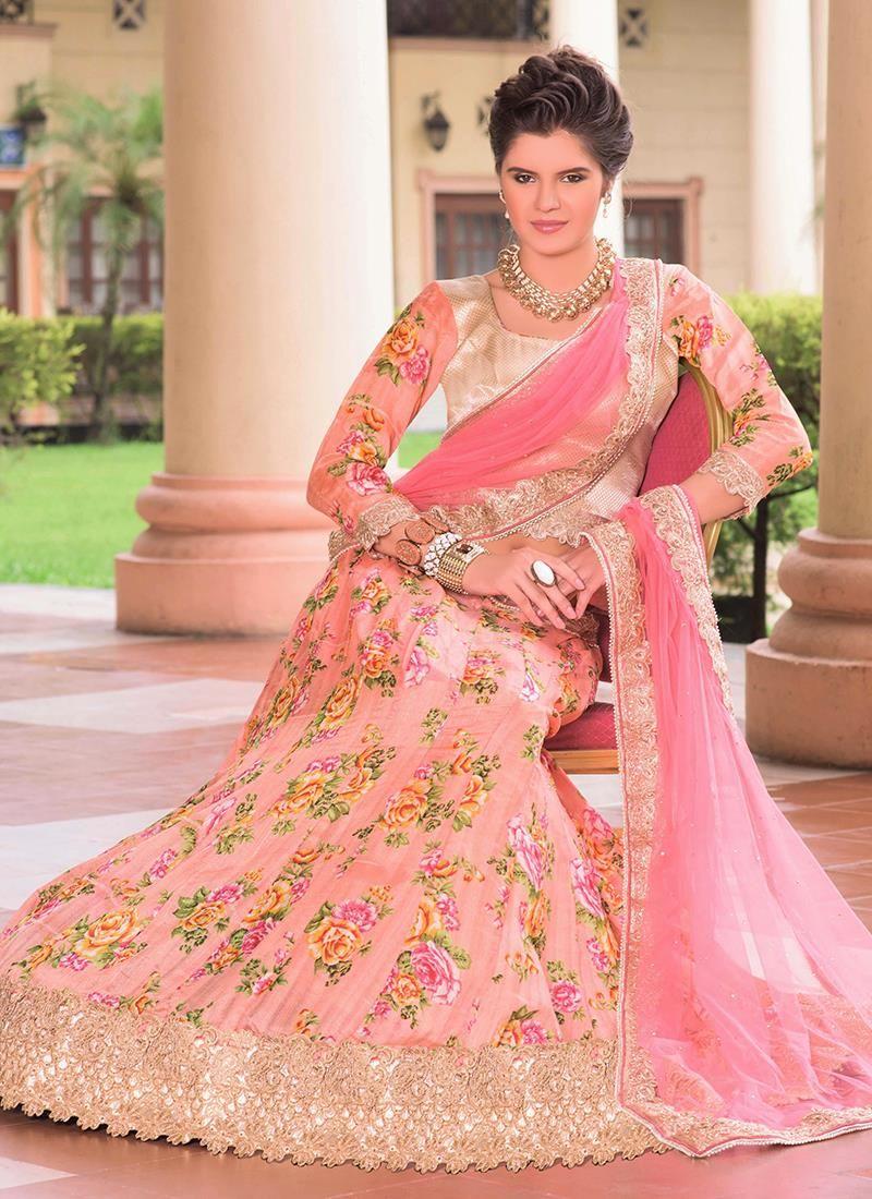 Versatile Bhagalpuri Silk Pink Patch Border Work A Line Lehenga ...