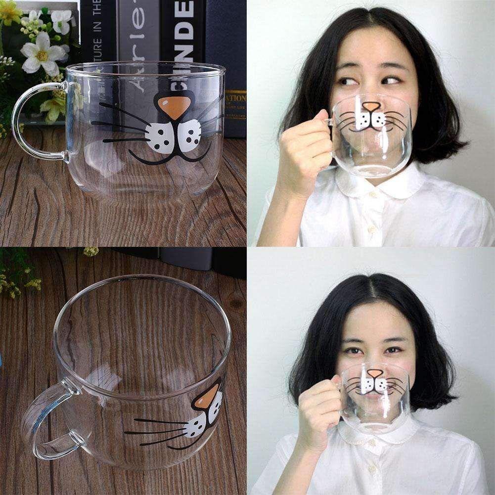 Transparent Cat Glass Coffee Mug 550ML Mugs, Cat mug