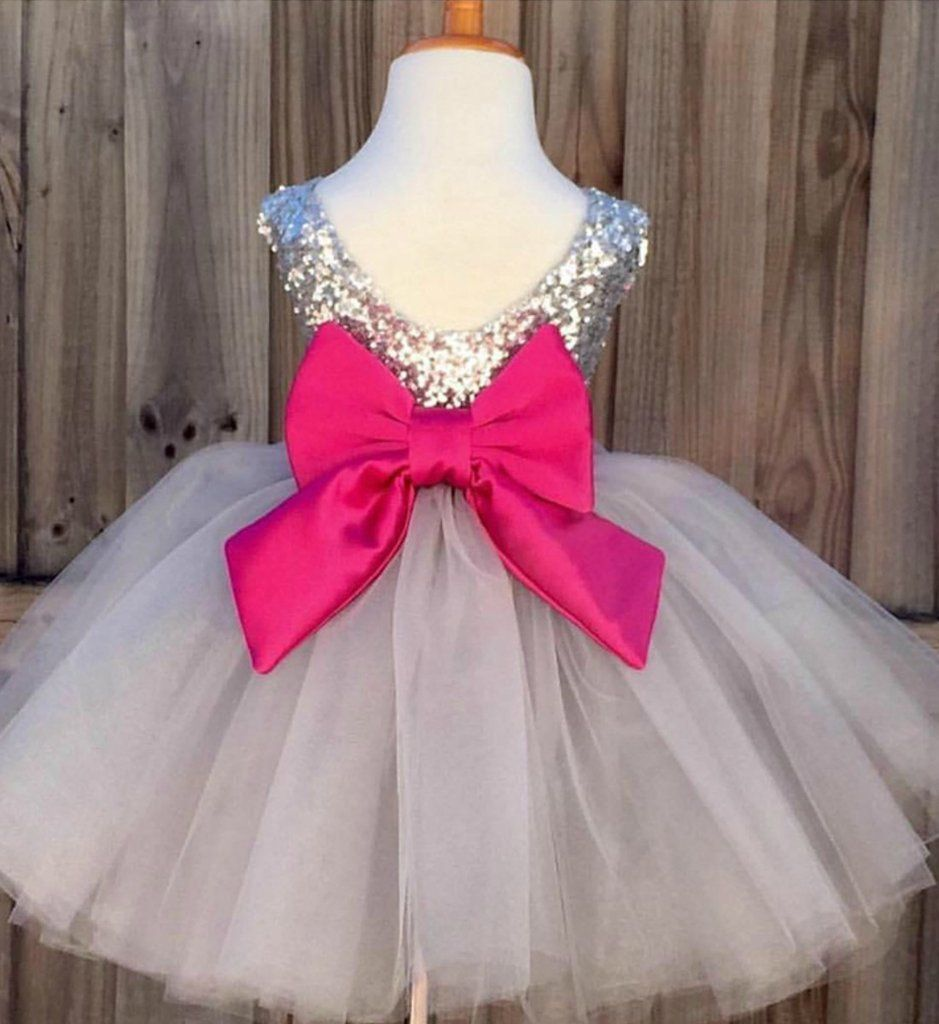 ba6690956 Sequin Baby Girl Tutu Dress-Silver Sequin Big Bow Back Knee Length ...