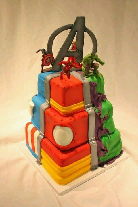 Avengers Birthday Cake: this would be awesome as a single sheet cake with the four sections in each character's colors with their figurines on top!