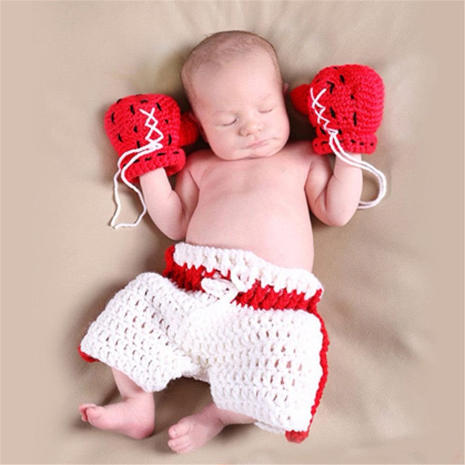 Handmade Knitted Soft Hat Boxer Boxing Pants Shorts Baby Boy