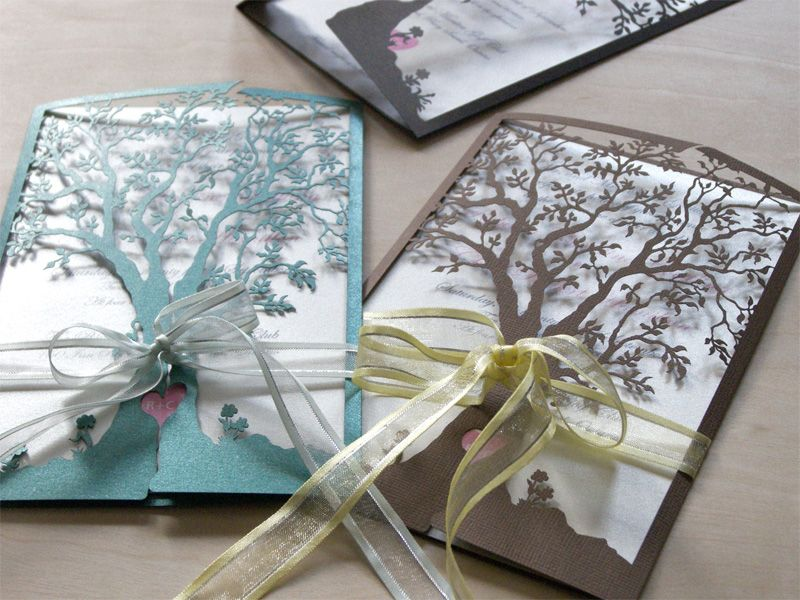 Tree Invitations Love Laser Cut Wedding Invitation In Green And Brown With Ribbons