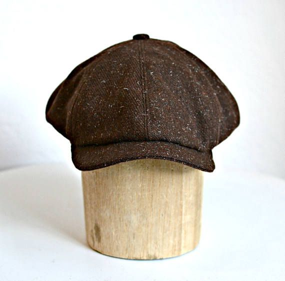 b4319618 This is a mens Newsboy Cap in vintage dark chocolate brown tweed. The wool  is medium weight with white flecks and it is gorgeous!