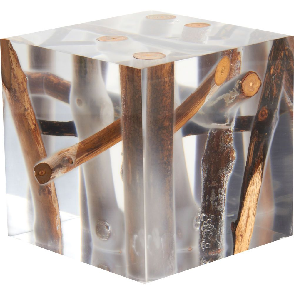 Epoxy Driftwood Table: Bleu Nature Kisimi Frosted Driftwood Cube