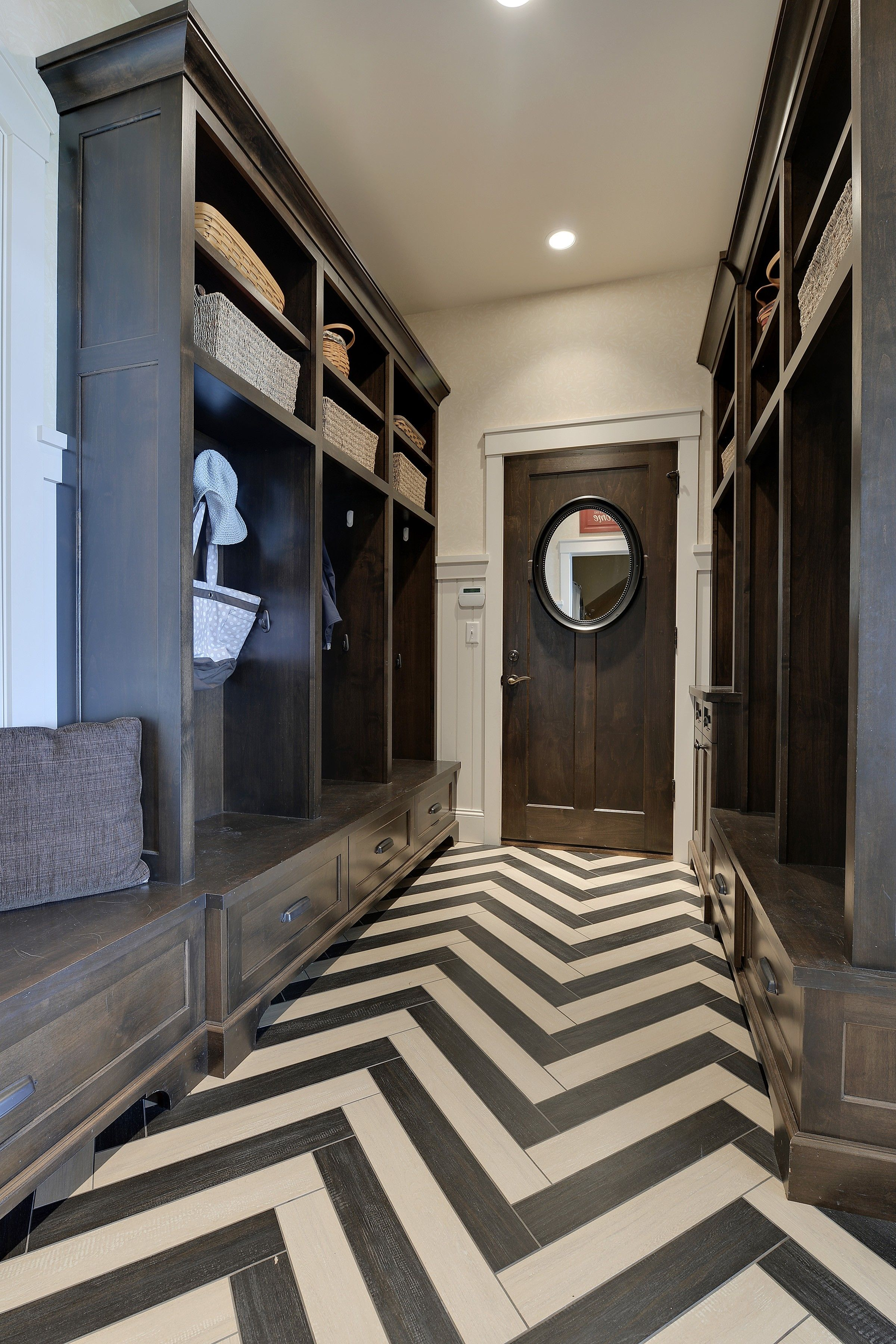 Visual eye candy how to tile a herringbone floor part i - Love The Dark Cabinetry And Herringbone Floor Mudrooms Homechanneltv Com