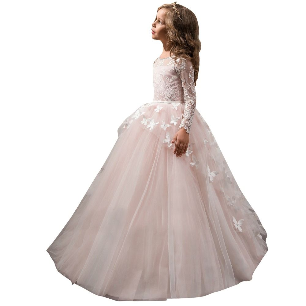 Click to buy ucuc ball gown dress for wedding kids pink butterfly