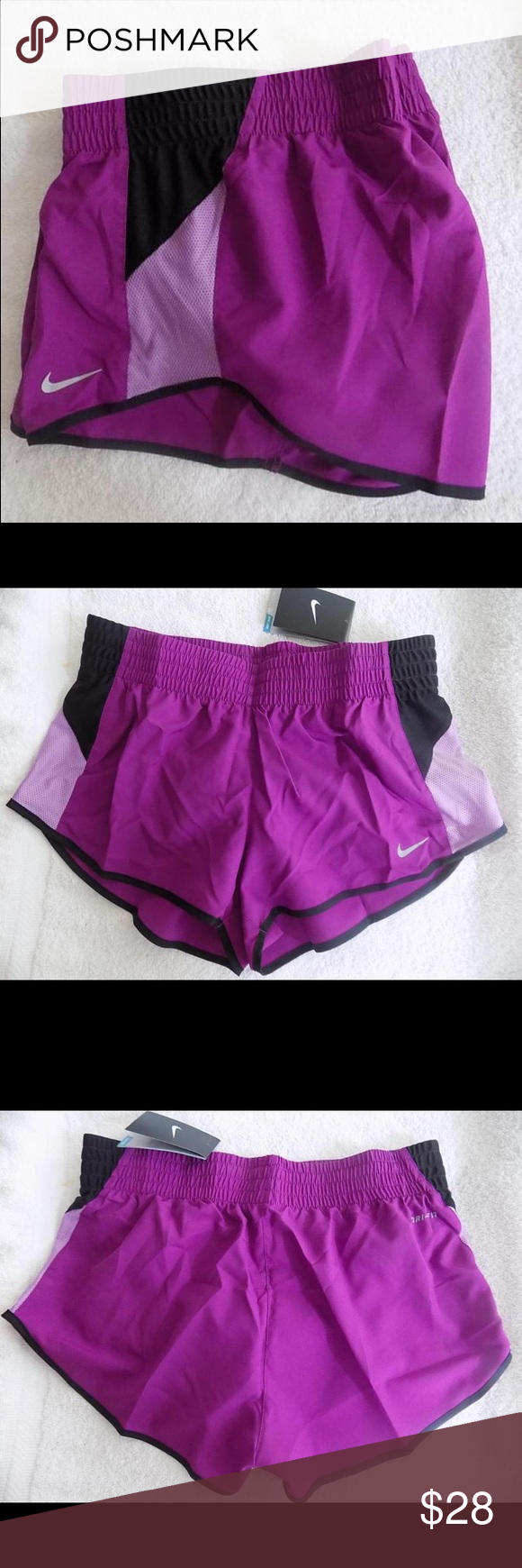 Nike dri fit racer shorts NWT Nike dri fit racer shorts. Features inner briefs, back inner pocket and reflective swoosh on front leg.  Very lightweight! Nike Shorts