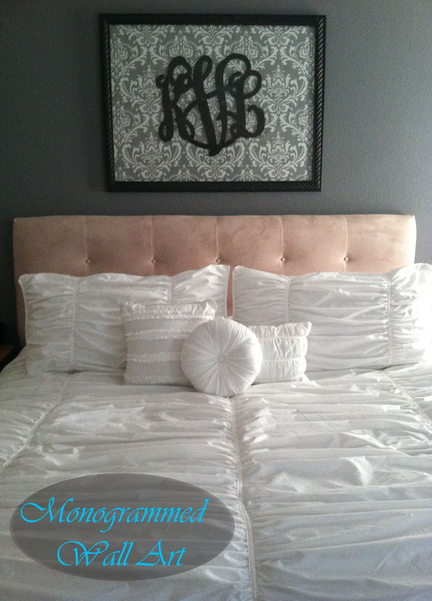 Master bedroom wall decor diy  Monogrammed wall art over bed diy monogrammed letters bedroom