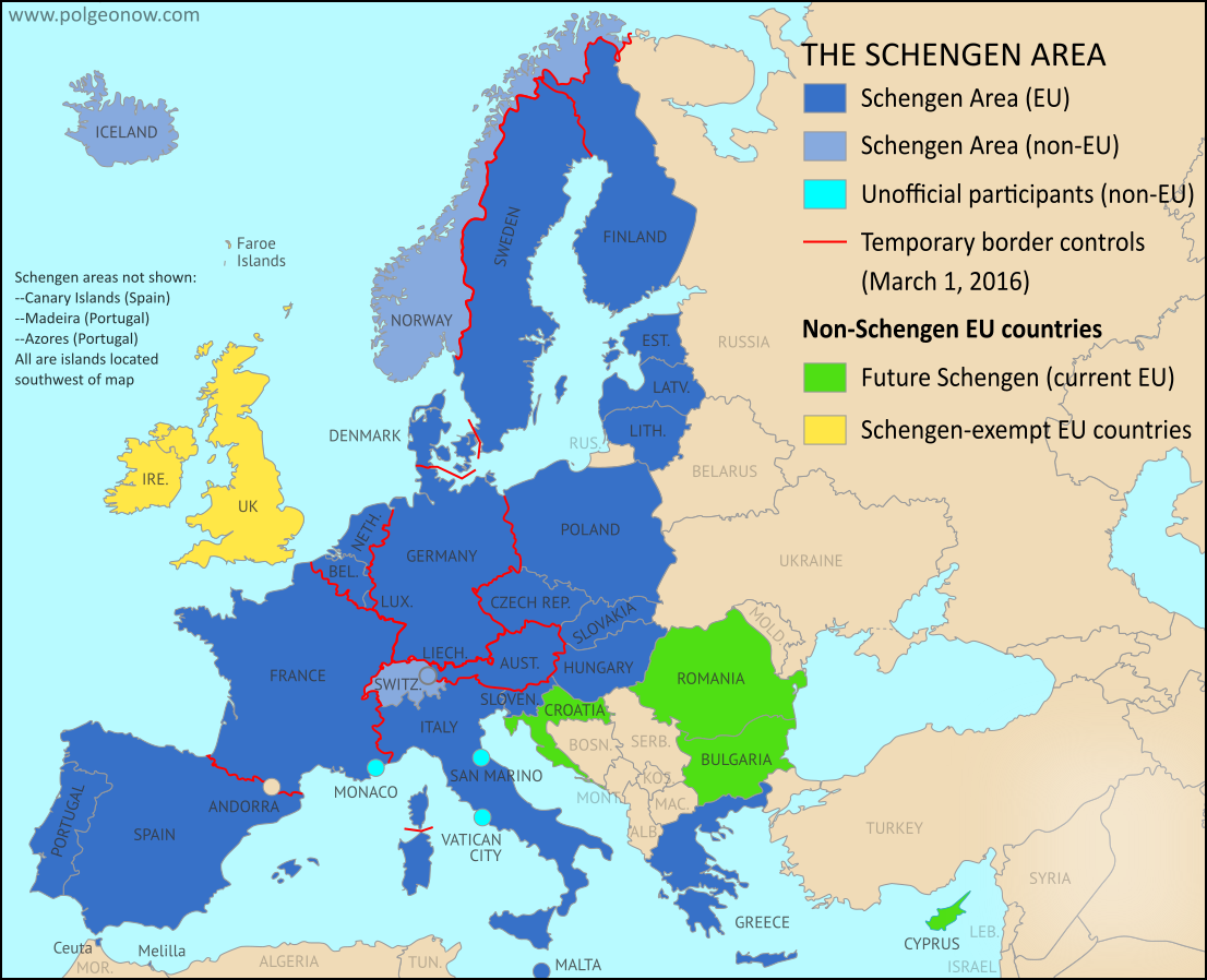 Map of Temporarily Reintroduced Border Control in the Schengen