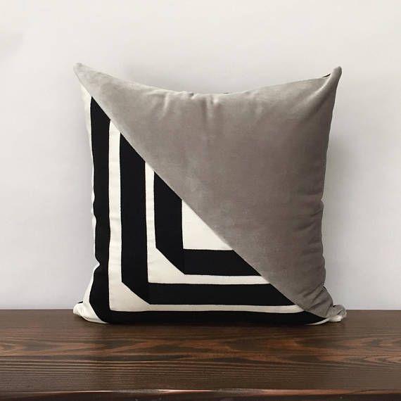 Glam Decor Geometric Velvet Pillow Cover Black And White