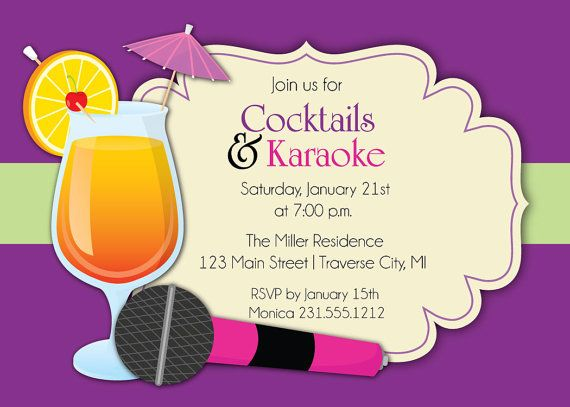Karaoke invitation cocktails karaoke party invite for adults karaoke invitation cocktails karaoke party invite for adults stopboris Image collections