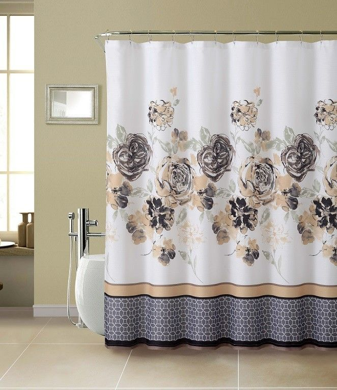13pc Tabitha Floral Fabric Shower Curtain Set with Rollerball Hooks #Modern
