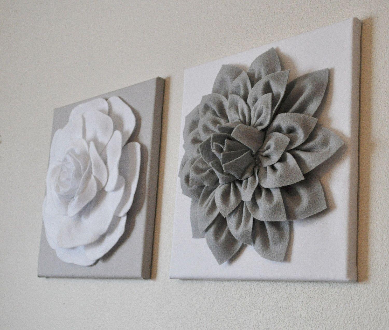 Nursery Wall Decor TWO Wall Flowers Gray Dahlia on