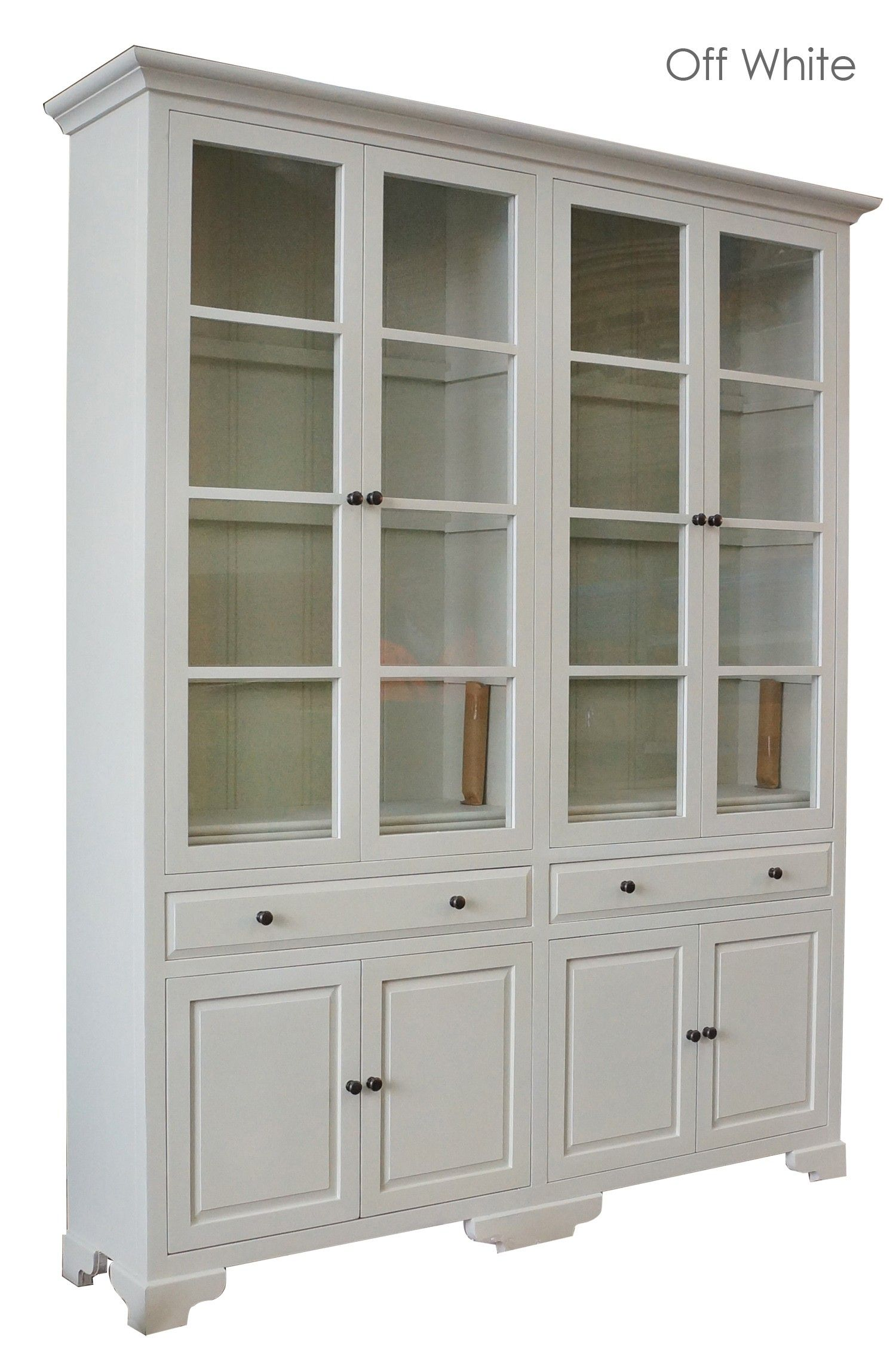 French Provincial Classic Display Cabinet With Tempered Glass In Off White White Cupboards