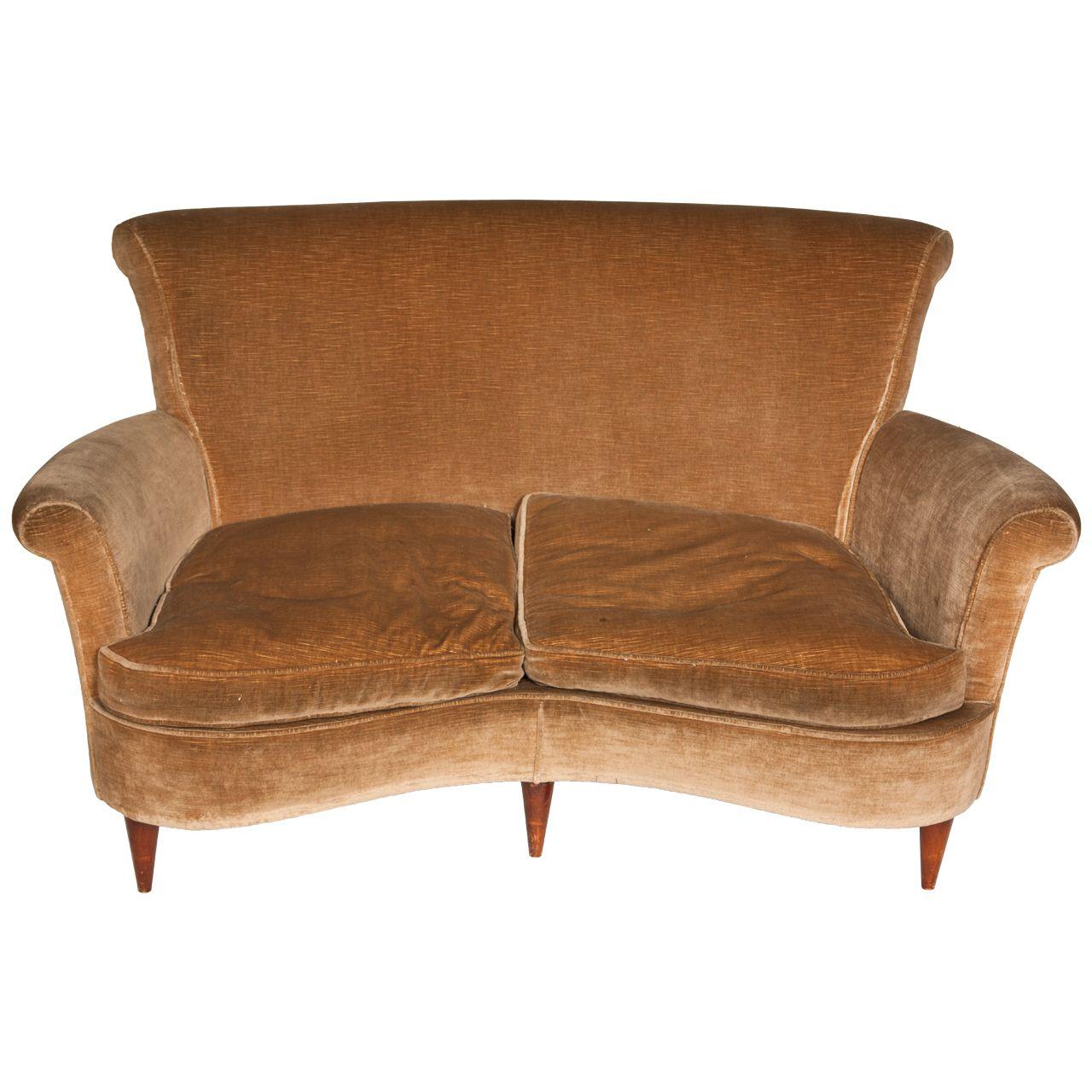 1940s Curved Italian Design Sofa 1stdibs Com Italian Sofa Designs Vintage Sofa Furniture