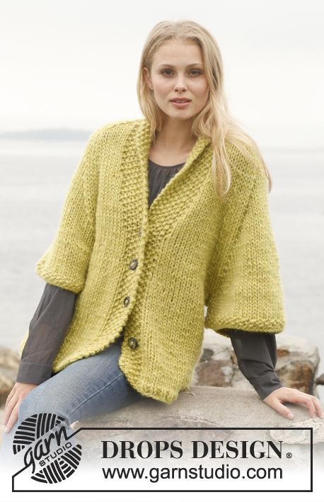 """Knitted DROPS jacket with raglan and shawl collar in """"Eskimo"""". Size ..."""