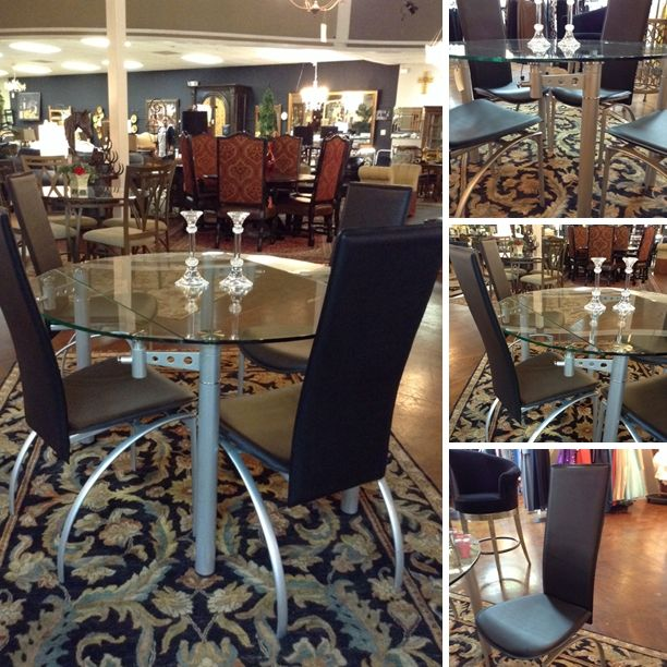 Copenhagen  Round Glass Dining Table W 4 Leather High Back Classy Dining Room Chairs San Antonio Design Decoration