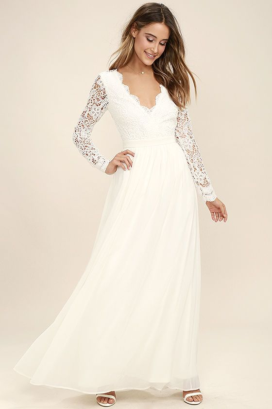 Awaken My Love White Long Sleeve Lace Maxi Dress - Awaken My Love White Long Sleeve Lace Maxi Dress Full Length