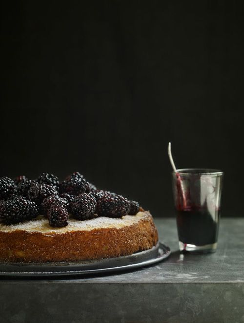 Ricotta Cheesecake with Berries and Sauce... #BLACKBERRIES and #RED #WINE SAUCE to be exact :) Food styling is winning, too.