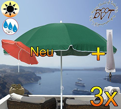 Pack of 3 XXL Parasol with Valance (8 Pieces) C/W Shade Elegant Large 6 ft/1.80 m Green/8 Heavy Duty Square Solid Garden Beach Umbrella Moss Green Beach ... & Pack of 3 XXL Parasol with Valance (8 Pieces) C/W Shade Elegant ...