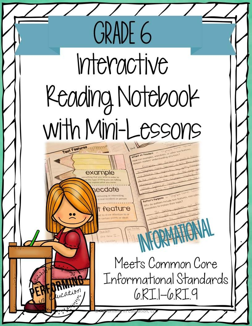 Interactive Notebooks For Reading With Mini Lessons Common Core Grade 6 Informational Inter Interactive Notebooks Reading Mini Lessons Reading Mini Lessons Reading mini lessons grade