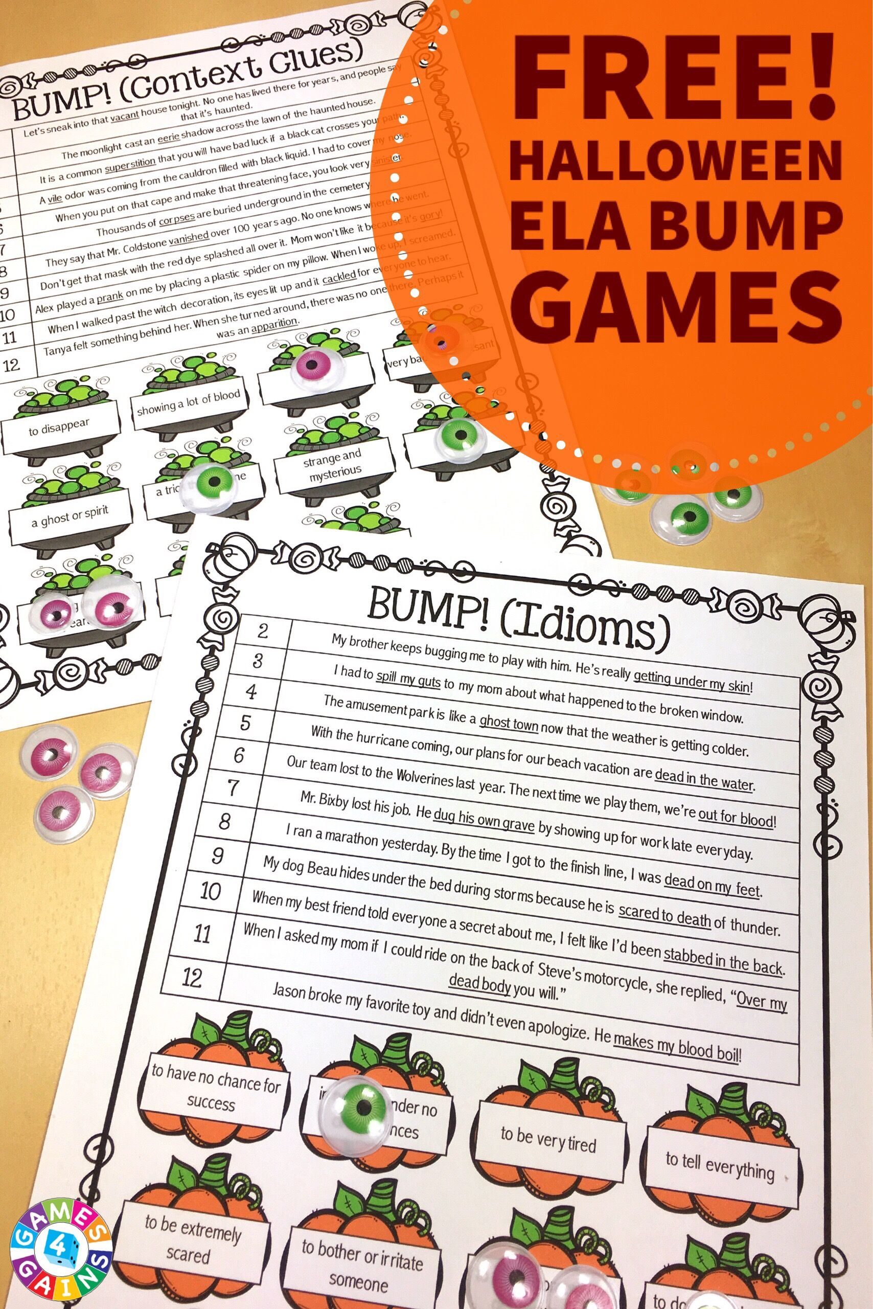 Free Halloween Games For Idioms Amp Context Clues