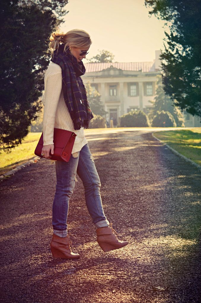 chunky knit sweater   jeans   red   boots   plaid scarf.