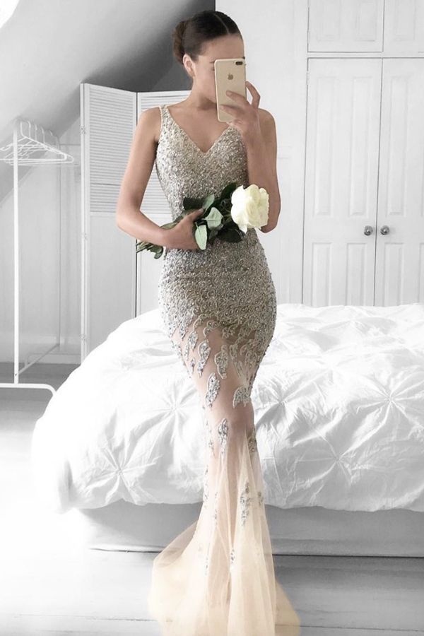 9693f9927d Mermaid V-neck Beading Sweep Train Silver Prom Dress with Lace