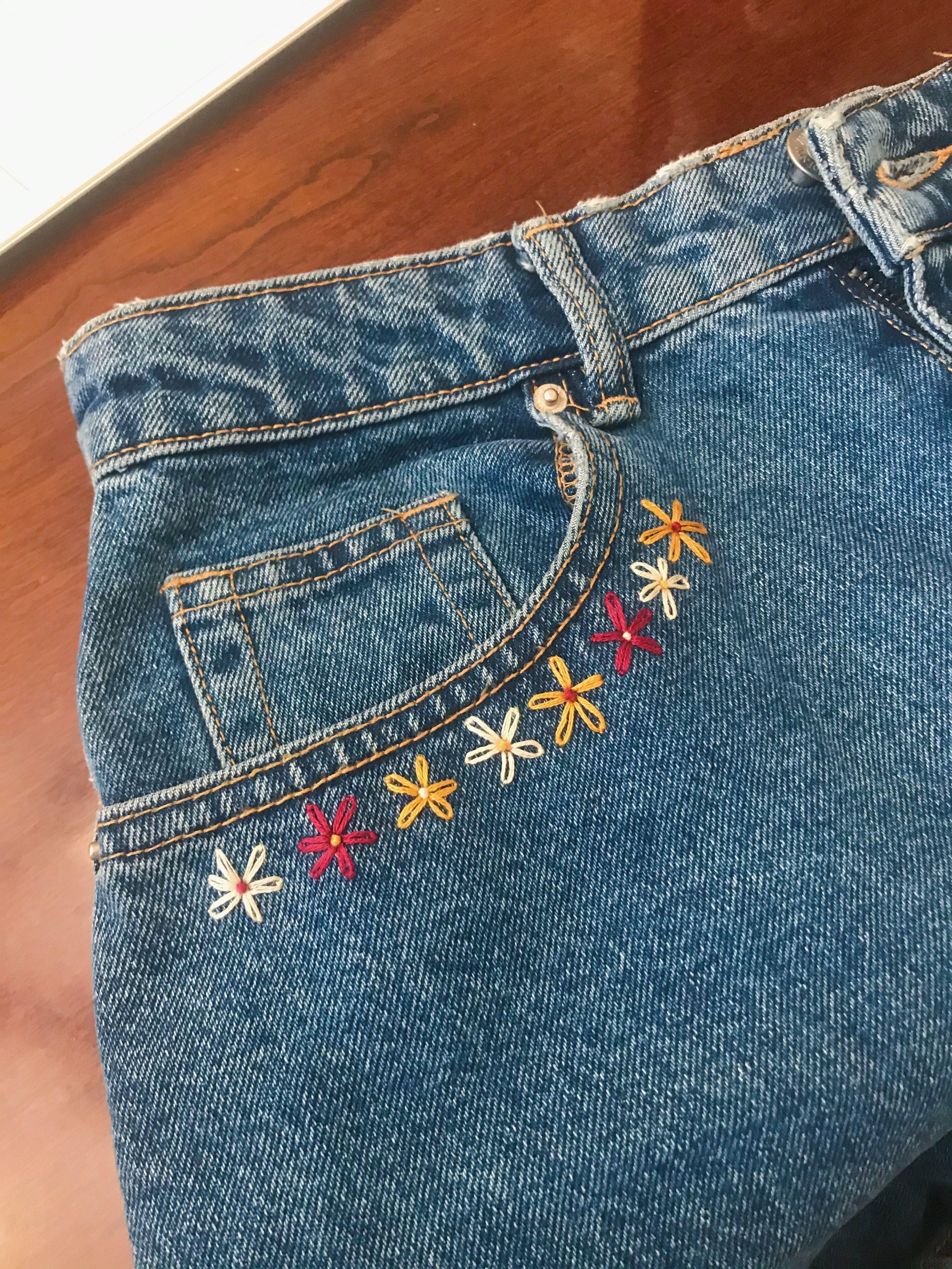 embroidery, lazy daisy, daisy, denim, shorts, jeans, jean shorts, denim shorts, …