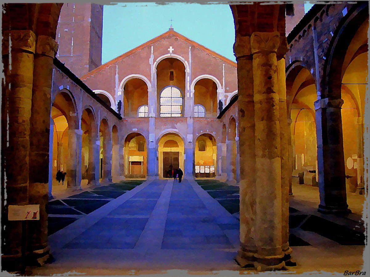 Giochi di colore ...a Sant'Ambrogioquando si fa serae si accendono le luci nel quadriportico  http://ilmioblogdiprova.over-blog.it/2014/01/milano-medievale.html