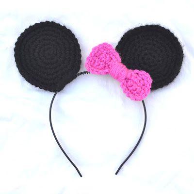 Crocheted Minnie Mouse Headband Ears | crochet pattern ideas | Pinterest