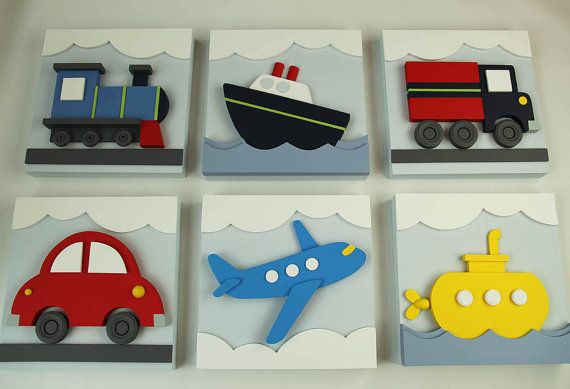 Set of 2 Transportation Wood Kids Wall Decor, 3D Transportation for ...