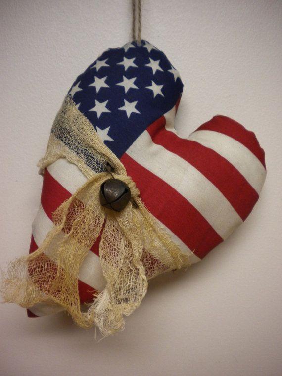 Patriotic Heart Ornament American Flag Heart by PearcesCraftShop