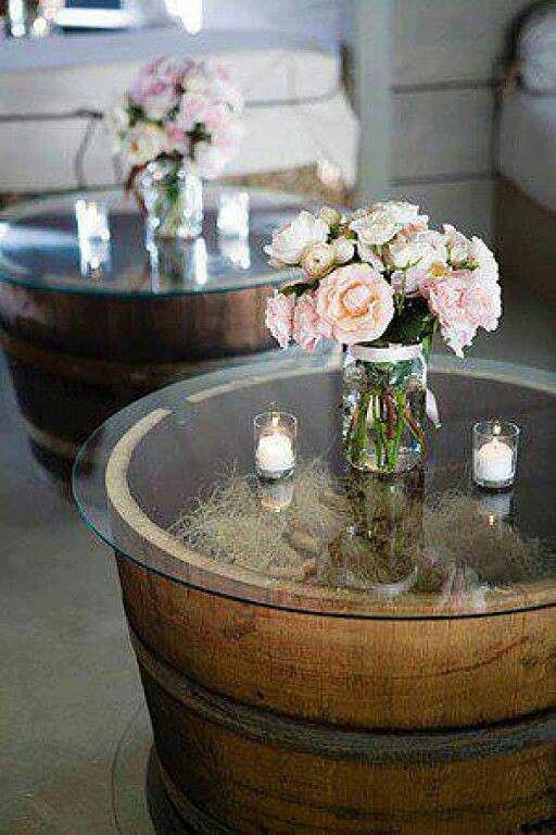 Living Room End Tables. DIY Tables: Home Depot Has Whiskey Barrels For 30  Bucks U0026 Bed Bath U0026 Beyond (u0026 Joanne, Etc) Has Glass Table Toppers For 9  Bucks.